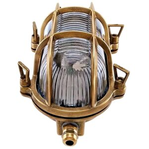 Oval Brass Bulkhead Light. Coastal Outdoor Wall Light