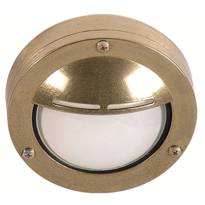 Wall Light Fixture Covers: Brass Step Light With Hood For Interior Or Exterior Use