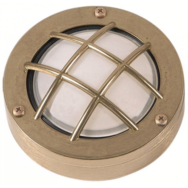 Wall or Ceiling Lamp. Brass Light Fixture with Frosted Glass, round. ART 437 Brass