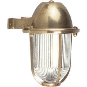 Outdoor Solid Brass Wall Light for Coastal Locations. Clear Ribbed Glass