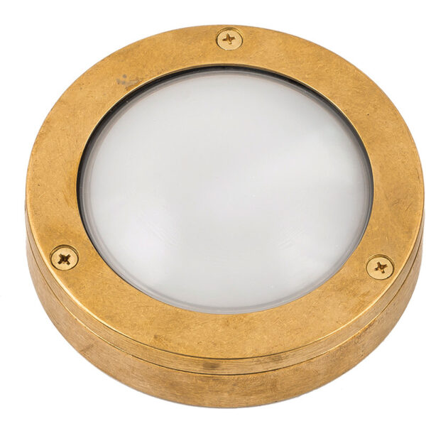 Modern Bulkhead. Round Surface Lights, Framed in a Brass Surround