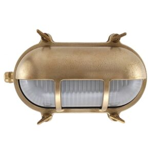 Oval Bulkhead Light with Eyelid Shield in Brass